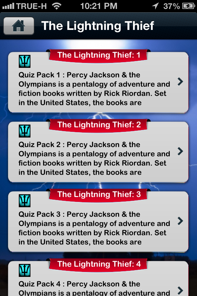 Screenshot iQuiz for Percy Jackson Series ( Books Trivia )